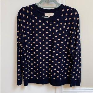 Loft navy blue with tan heart pullover sweatshirt